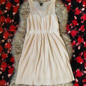 H&M Beige Khaki PleatedSheer Mesh Dress Size Small